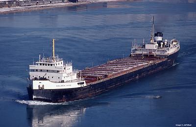 Steamer Golden Hind as seen from the Ambassador Bridge in December 1980.