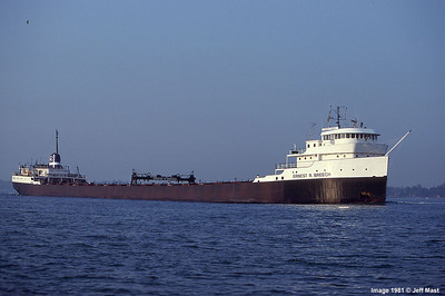 Ford Motor Company Steamer Ernest R. Breech off St. Clair, Michigan 1981 now sailing as the Ojibway.
