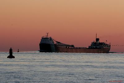 Sunrise the steamer John G. Munson downbound off Lake St. Clair - Windsor, Ontario