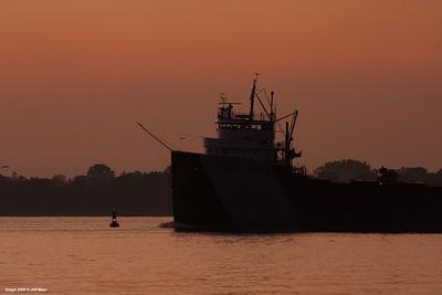 Steamer Philip R. Clarke upbound at Port Huron at Sunrise