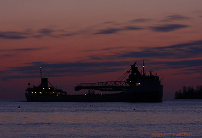 Cuyahoga downbound nearing sunrise off Belle Isle in Detroit