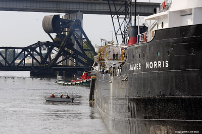 Steamer James Norris prepares to unload a cargo of road salt in Detroit along the Rouge river.