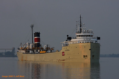 Steamer Alpena arrives at the Detroit LaFarge Cement silos with a cement load from Alpena, Michigan.
