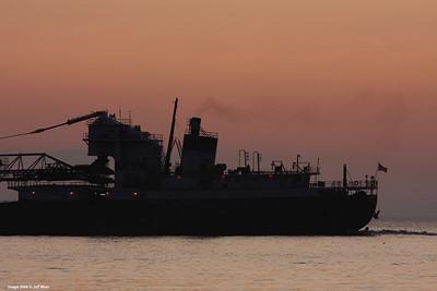 Stern of Steamer Philip R. Clarke off Port Huron, Michigan