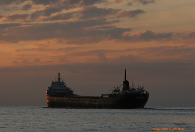 Canadian Leader enters Lake St. Clair at sunrise.