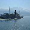 A paddle steamer on Lake Geneva in Switzerland, with Mont Blanc in the background