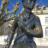 Bronze statue in honour of Charlie Chaplin, erected on the lake shore of Lake Geneva at Vevey, where he lived and died