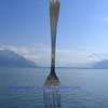 Giant fork sculpture planted in Lake Geneva, Switzerland
