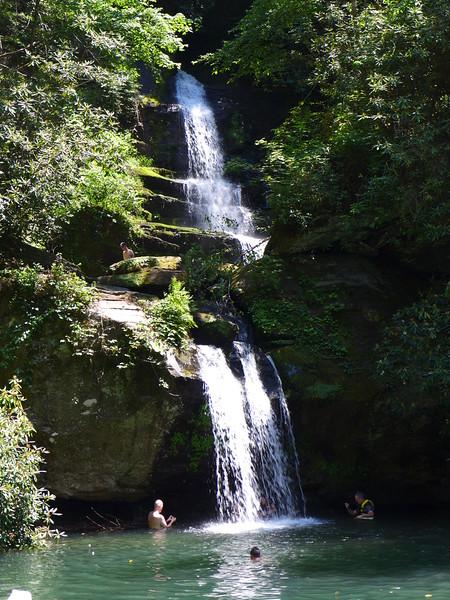 2 waterfalls drop into Wright's Creek Cove