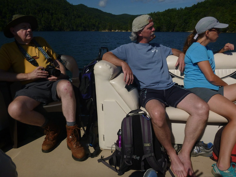 """Three wonderfully knowledgeable folks were on this trip .... left to right, Thomas King, author of """"Waterfall Hikes of Upstate South Carolina"""", Tim Lee, ranger and naturalist with Jones Gap State Park, and Tricia Kyzer, Naturalist with Jocassee Lake Tours and educator at Lake Conestee Nature Park."""