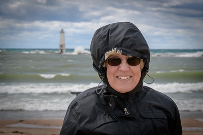 Sandi at Frankfort Beach and Light During Gale