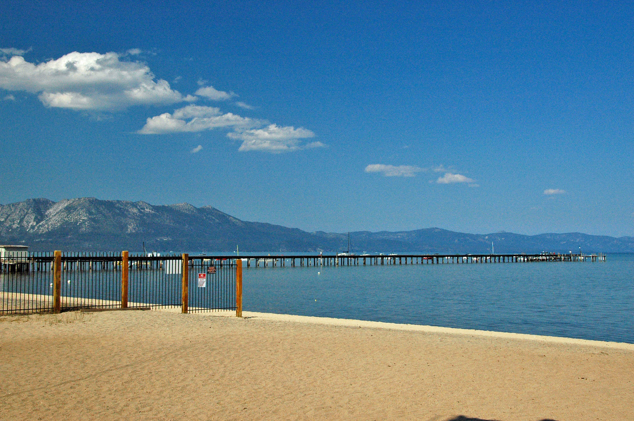 View of the pier from the Lake Shore Lodge beach.