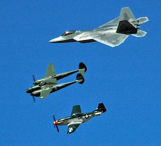 Heritage Flight. F22/P38/P51
