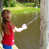 Maddie trys her hand at fishing