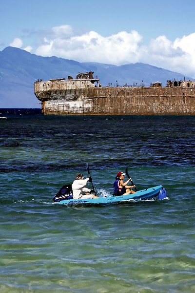 Kayaking at Kaiolohia (Shipwreck Beach) - Lana'i, Hawaii