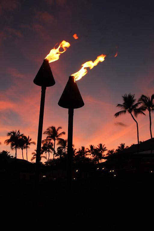 Tiki Torches - Sunset - Manele Bay Hotel - Lana'i, Hawaii