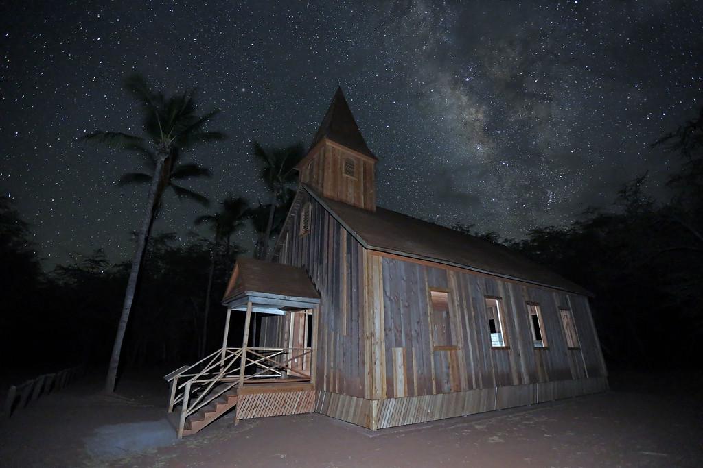 Keomoku Church Building and Milky Way - Lana'i, Hawaii