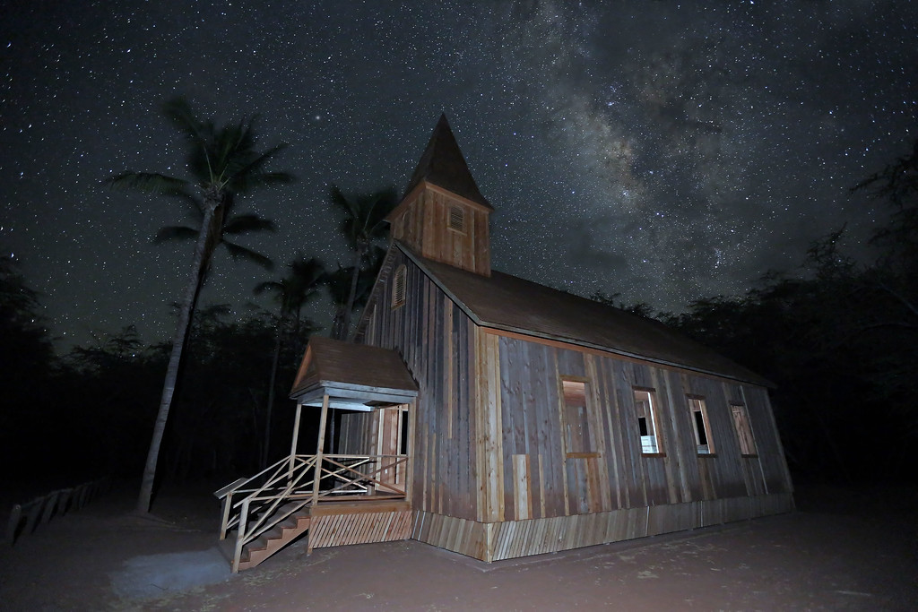 Keomoku Church Building and Milky Way - Lana'i, Hawaii