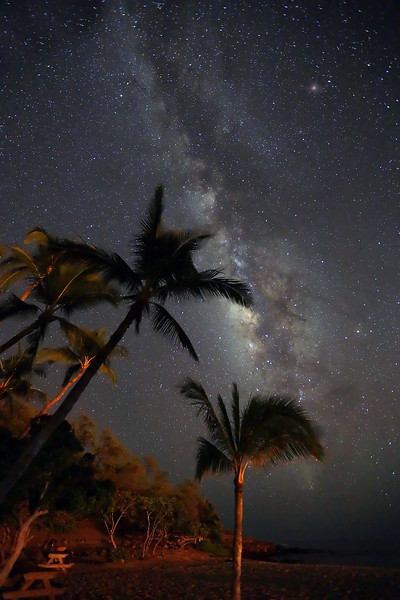 Hulopo'e Beach and Milky Way - Lana'i, Hawaii