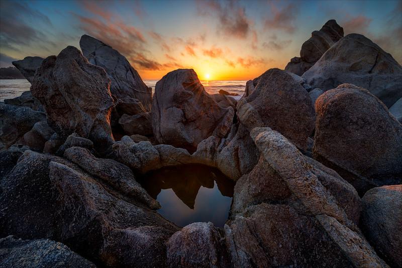 Granite boulders, Carmel Bay, Big Sur Coast, California