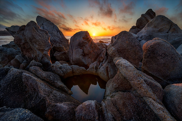 Granite boulders, Carmel Bay, Big Sur Coast, California