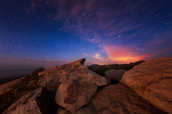 full lunar eclipse, Santa Ynez Mountains, California