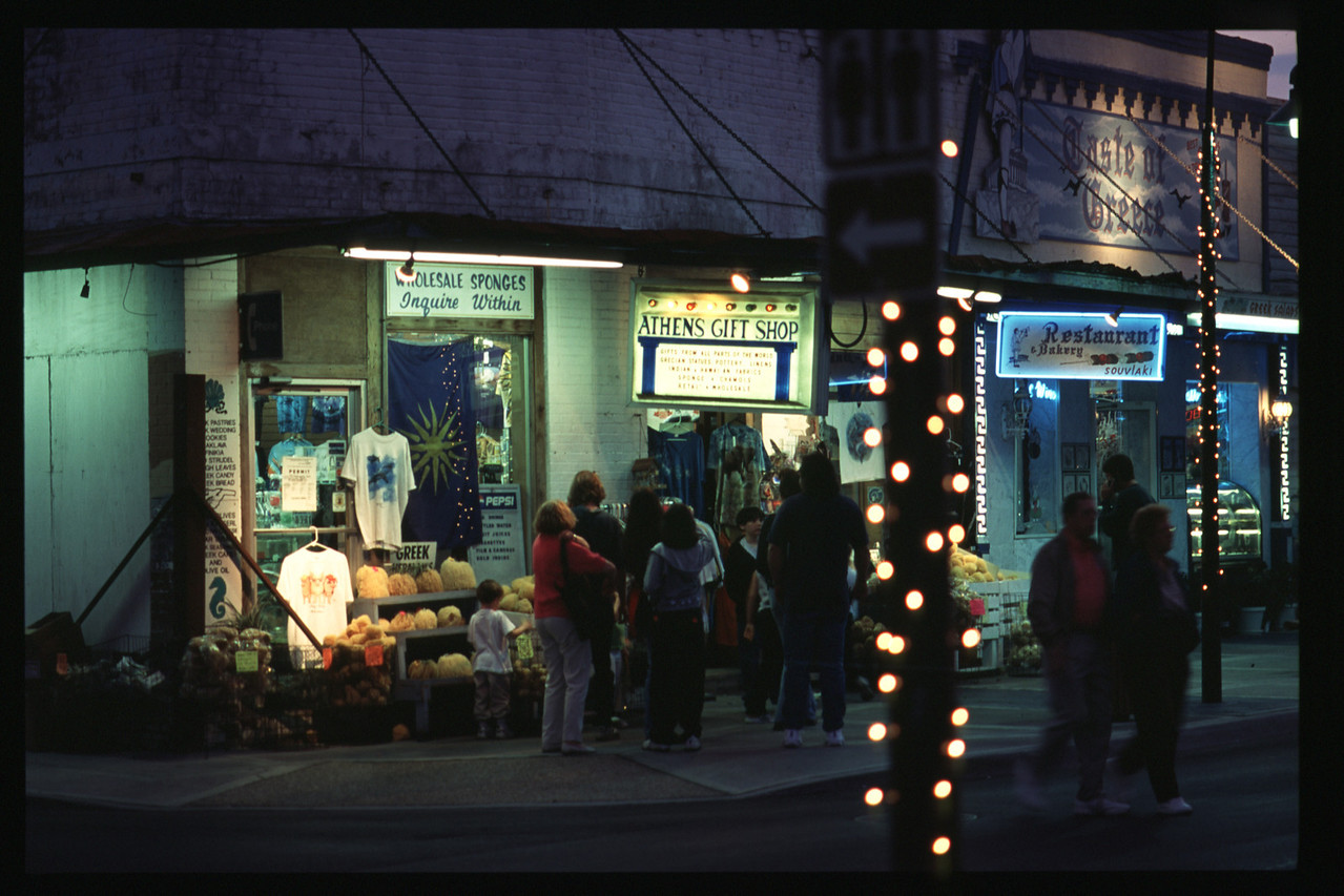 Tarpon Springs Greek Shops at Night