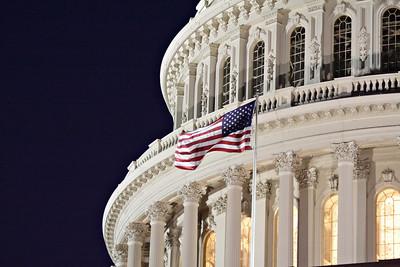 American Flag Flying at Night at U.S. Capitol Building, Washington, D.C.