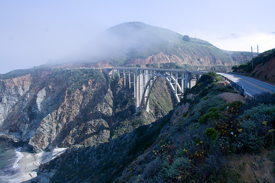 Bixby Bridge in morning light with fog