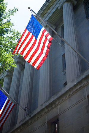 US Flag on Department of Justice