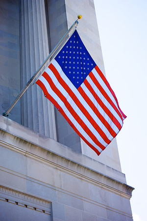 US Flag on Justice Department