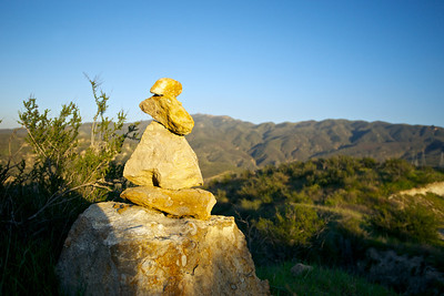 Short Stone Cairn in California Hills
