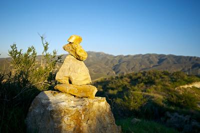 Short Stone Cairn in California Hills