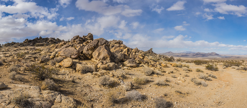 Panorama of Boulder Pile and Dirt Trail