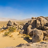 Panorama of Boulder Pile in Desert