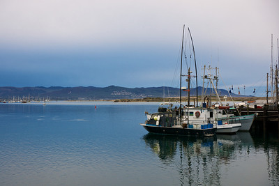 Fishing boats harbored in Morro Bay, California.