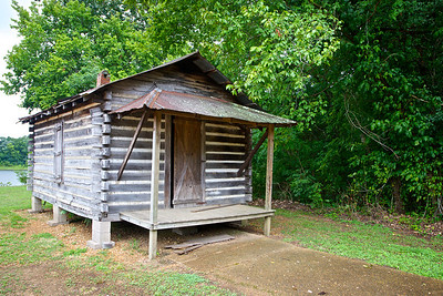 An old log cabin lies along the edge of a green wood near Shiloh National Military Park.