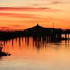 Folly Beach Marina, SC with great egret.