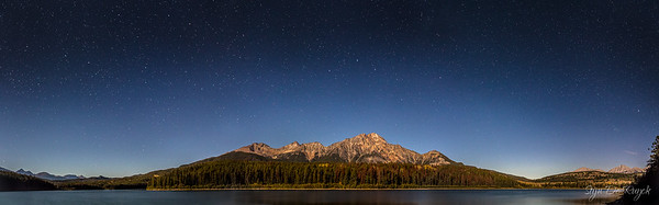 Moonlit Patricia Lake & Pyramid Mountain, Jasper National Park, Alberta, Canada