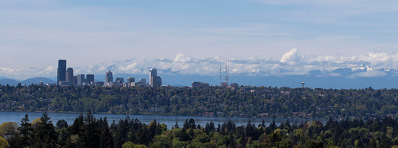 Seattle and the Cascades over Lake Washington