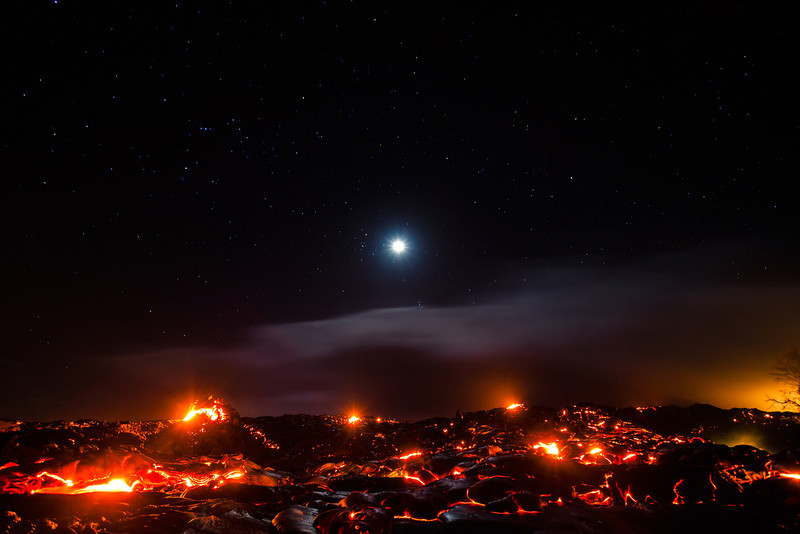 Kilauea lava flow by moonlight. March 2012.