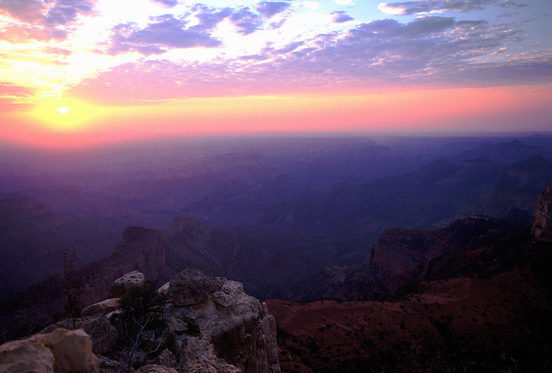 hazy Grand Canyon sunrise.