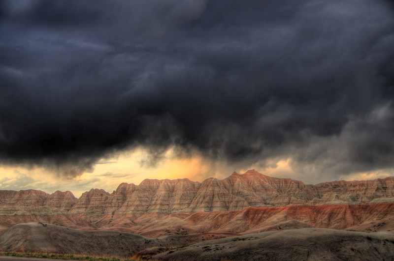 Badlands #2.   An early spring storm blows into the South Dakota Badlands.