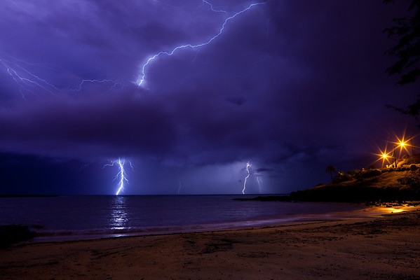 Lightning from Kailua Beach, Oahu, Hawaii