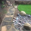 I used up my remaining DG and got about half of the walkway stones laid down. The end is in sight!