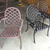 Time to restore the patio table. These chairs got pressure washed and wirebrushed to remove corrosion. I painted these an oil rubbed bronze finish.  I never did like the old brown color on these.