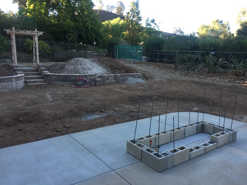 The BBQ island will be built up from cinder blocks.