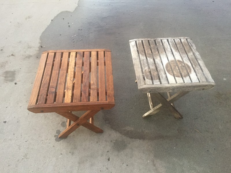 We had these teak tables for years. They were very weathered. I did a pressure washing of these and they look great.