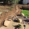 I got more of the plastic edging and stakes and put in them to make a walkway from the back patio to the flagstone in the upper level of the backyard. This will get some more DG laid down under the sandstone pieces.