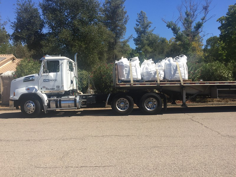 Big bags of stones and rocks of several sizes for the creek bed.